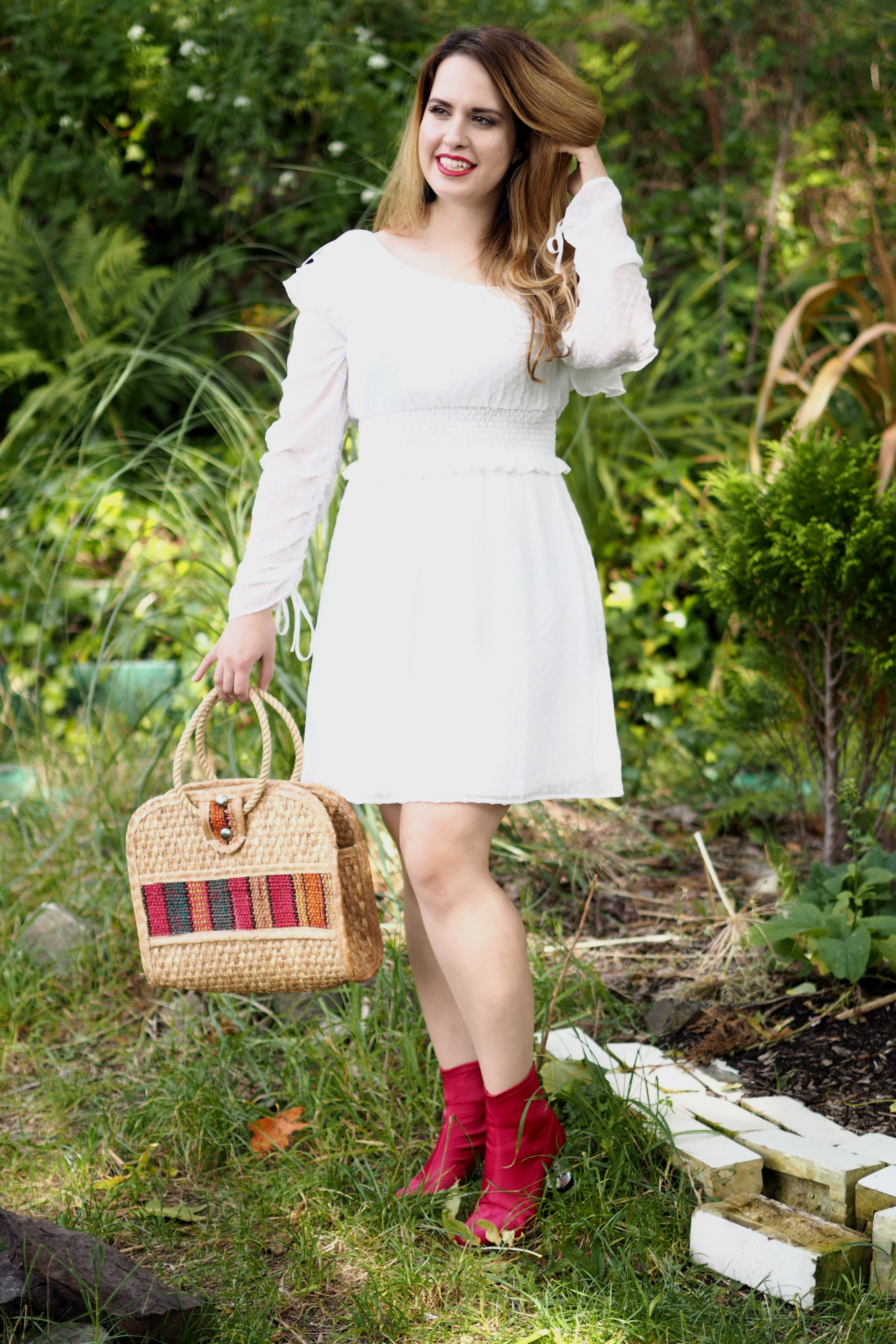 white flowy dress red boots