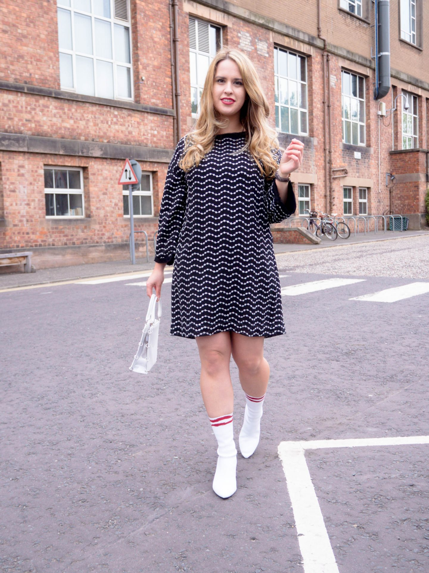 essentiel antwerp black sequin dress zara white sock boots thrifted outfit fashion sustainable blogger style 23 things I learned life lessons