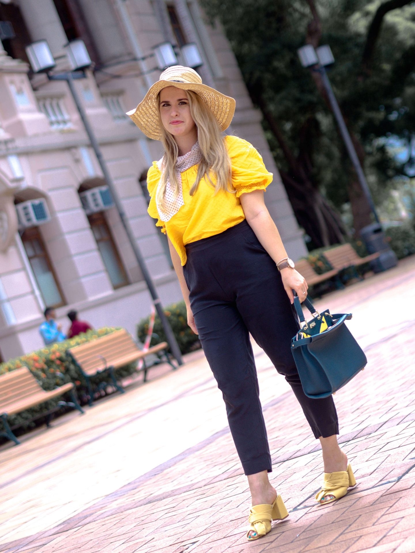 how to style black trousers, silk black trousers, Grana review,sustainable fashion brand, ethical fashion brand, black and yellow outfit idea, yellow mules