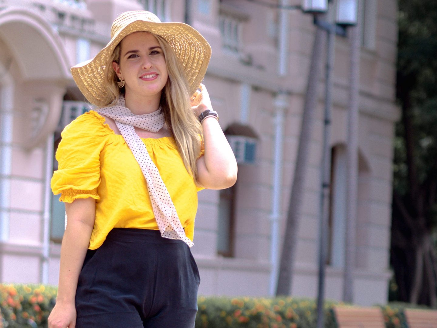 yellow asos top with straw hat and polka dot print scarf, Grana silk trousers flat front